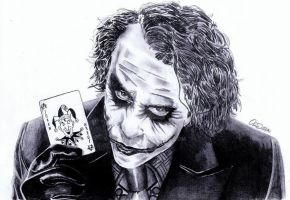 Heath Ledger as The Joker (Dark Knight) by Exenity