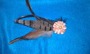 Fall Feathers and Flowers Hair Barrette by Tray-kun