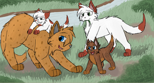 Applefoot, Runningpath, Wolfkit and Flamekit by CascadingSerenity