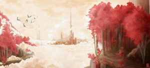 The world with red trees by EurekaRysuje