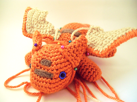 Orange Dragon Amigurumi Plush WIP by RainbowReverie