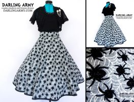 Spider Dreams Tea Length Retro Pinup Skirt by DarlingArmy