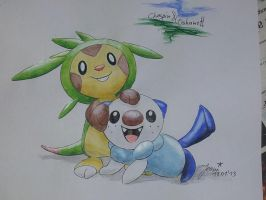 Chespin and Oshawott by woerst-caese