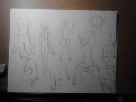 Anatomy practice sketch dump by CrypticGrin