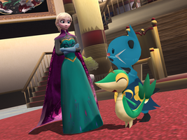 MMD Frozen-PKMN - Elsa : What do you do, Dewott ? by JackFrostOverland