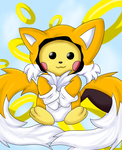 Pichu in a Tails Costume by xXHeartless-RosesXx