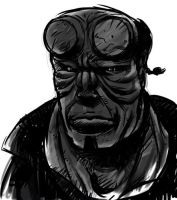 HellBoy Monochrome version by southercomfort