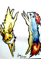 Jolteon and Quilava by AmethystCreatures