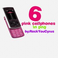 6 pink Cellphones in PNG by RockYouCyrus