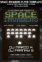 Space Invaders Party Flyer Template by Hotpindesigns