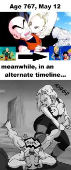 Krillin and Android 18 meme (original art by DBoy) by blackstone27