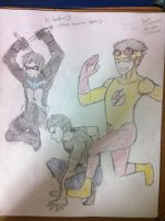 YJ- Dick Grayson, Conner Kent and Wally West wip by irenerei