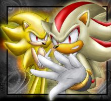 Super Sonic and Shadow by raikoufighter