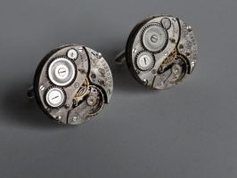 Engraved steampunk cufflinks by Hiddendemon-666