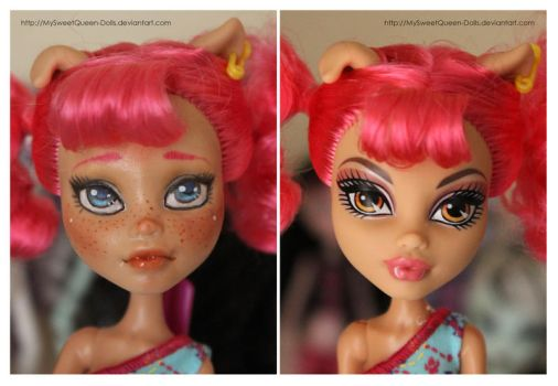 Repainting VS Factory Makeup: Howleen Wolf by MySweetQueen-Dolls