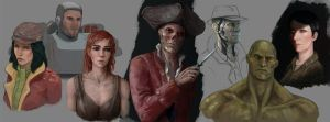 Fallout 4 companion sketches by Lockdevil