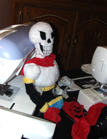 Papyrus Plushie WIP by Skeleion