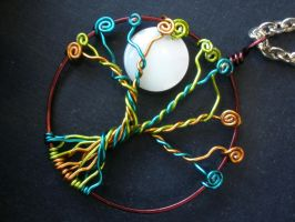 Colourful Tree of Life with Moon Pendant Necklace by ChloeLB