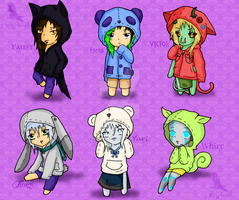Hoodied Chibis by Frozenaccess