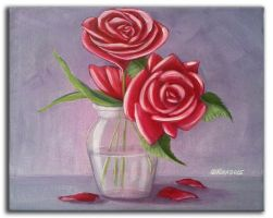 BOUQUET DE ROSES - Acrylic painting by rroxyann