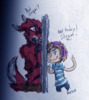 Pewds beats Foxy to the door by NinjaNekoAru