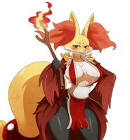 Delphox as Mai Shiranui by ss2sonic