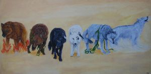 Elemental Wolves_acrylic by CreatTheCrow