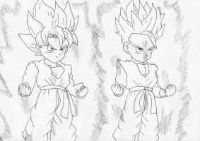 Goten and Trunks ssj by Pantheiros