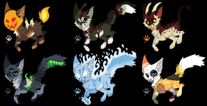 (OPEN) Halloween Themed Canine Adopts! by D0gb0nes