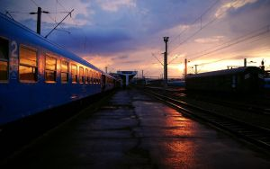 Railway station sunset by CSONGI-04