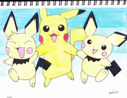 pichus and pikachu by MarleneUrameshi