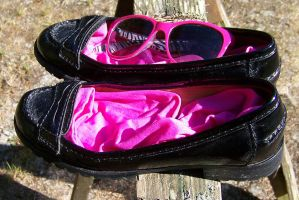 Pink Socks and Glasses, Black Harper Penny Loafers by peerlesspenny