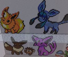 Flareon, Eevee, Glaceon, Espeon Pixel Art Minecraf by justinw1996