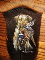 Hunting Dog Feather Painting by SpikedPyro