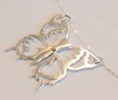 Silver Butterfly with brown Topaz by MirielDesign