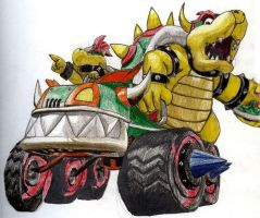 Bowser and Kid Bowser Kart by chibi22