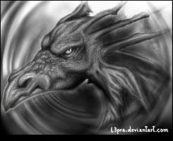 Black Dragon Head by L3pra
