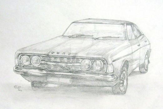Ford Cortina pencils sketch by rum-inspector
