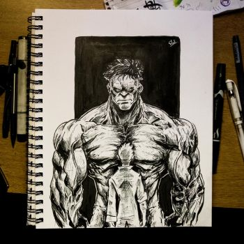 Inktober 2016 Day 22 - Bruce and the monster by Dr-Carrot