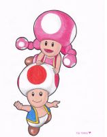 Toad and Toadette by Various-Aliter