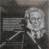 Isaac Asimov portrait etched in black granite by PeterIst