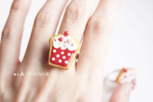 Cupcake Rings Jewelry Sugar Cookies handmade clay by LaNostalgie05