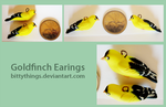 Gold Finch Earings - Commission by Bittythings