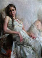 Mary Qian - Gaze by OilPaintersofAmerica