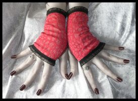 Coral Lace Fingerless Gloves by ZenAndCoffee