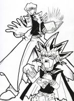 Yami Mimoto and Seto Kaiba by JustPlainJoe