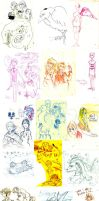 wall of sketches by sunrii