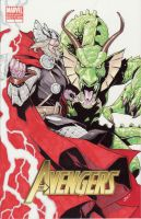 thor vs fin fang foom by lazeedog