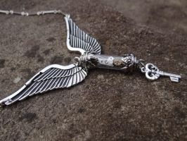 Steampunk angel necklace by Hiddendemon-666