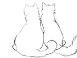 Just a sketch of two cats sitting togther by Iloveslyfoxhound